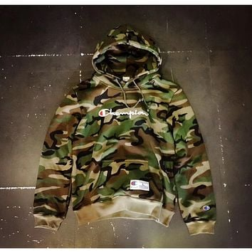 Champion drawstring hooded letters embroidered camouflage sweater