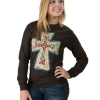 Cattilac Style Women's Solid Chocolate with Tooled Cross Long Sleeve Tee