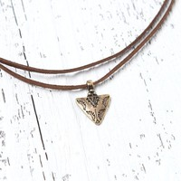 With Love From CA Triangle Faux Suede Choker - Womens Jewelry - Gold - One