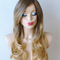 Brown / Golden Blonde Ombre wig. Long curly hair with long side bangs Fashion hairstyle High quality  wig.