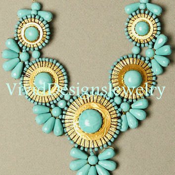 Turquoise Statement Necklace- Anthropologie - Bib Necklace - Bubble Necklace - J Crew - Big - Bold - Trendy Jewelry- Blue Necklace- Jewelry