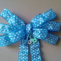 Blue Baby Shower Bow Polka Dot Diaper Pin  Hospital Door Birth Announcement Gift Decoration