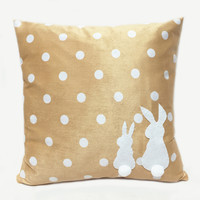 Two Cute White Rabbits Pom Pom Tail Beige Polka Dots Decorative Pillow Cover Pillow Case. Nursery Decor Children Room Pillow