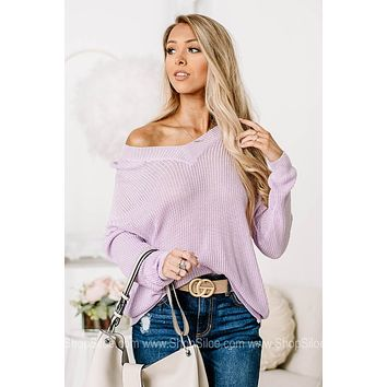 Lilac You A Lot Sheer Knit Sweater