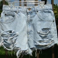 Jean Shorts High Waisted Denim size 27 by shortyshorts on Etsy