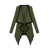 Army Green Contrast Long Sleeve Asymmetric Cape Cardigan Top