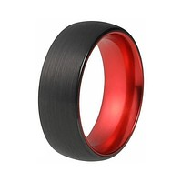 Mens Black Tungsten Wedding Ring With Fire Red Inside & Brushed Finish 4mm - 10mm