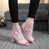 Lace Patchwork Peep Toe Low Chunky Heels Short Boot Sandals