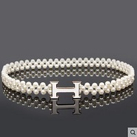 Hermes pearl waist chain girdle with dress thin belt F0550-1 White buckle