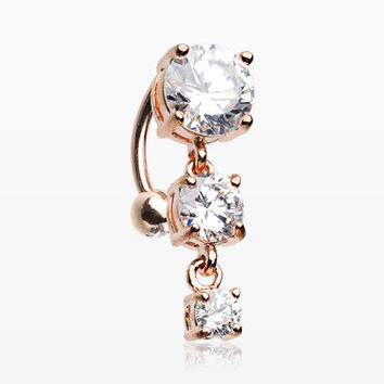 Rose Gold Brilliant Sparkle Cascading Gem Reverse Belly Button Ring
