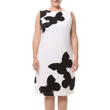 Chicwe Women's Plus Size Butterfly Printed Dress Sleeveless with Back Metal Zip US16-26