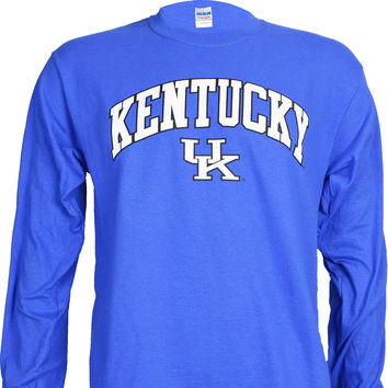 University of Kentucky Arch on a Blue Long Sleeve T Shirt