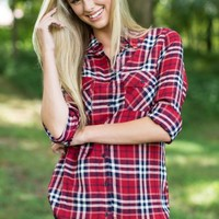 BB Dakota Hardwood Washed Plaid Shirt In Cherry Red