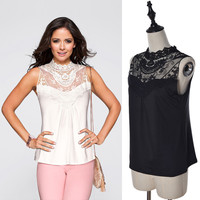 Summer New Fashion Casual Women Sleeveless Hollow Out Lace Tank Tops High Neck Vest Tops