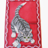 Cross-stitch Card .  Greeting Card for a Cat Lover