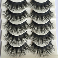 Fashion 5 Pairs Beauty Thick Makeup False Eyelashes Long Black Nautral Handmade Eye Lashes Extension