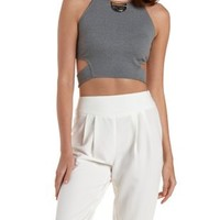 Gray Cut-Out Back Racer Front Crop Top by Charlotte Russe