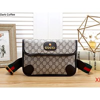 Samplefine2 GUCCI tide brand female metal small tiger head logo shoulder bag chest bag dark coffee