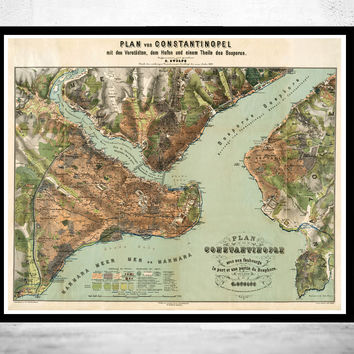 Old Map of Istanbul Constantinople, Turkey 1882 Vintage map