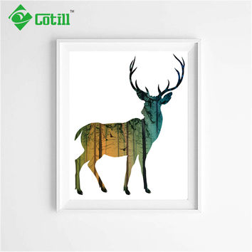 Cotill Colorful Deer Wall Pictures Oil Canvas Painting Decoratiove Pictures Home Decor Canvas Wall Art Posters No Frame
