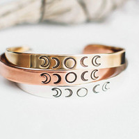 Moon Phase - Inspirational Motivational Mantra Cuff Bracelets - Hand Stamped Silver Gold Casual Style - Christina Guenther