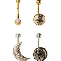 14G Steel Gold & Silver Moon Yin-Yang & Hamsa Navel Barbell 4 Pack