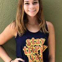 Stay Trippy Tank- Navy