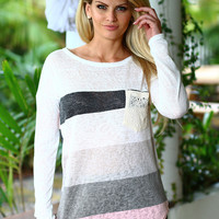 Ivory and Pink Long Sleeve Top With Crochet Pocket