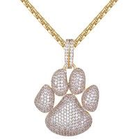 Men's  14k Gold Finish Little Dog Paw Pendant Deal