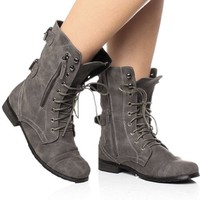 Womens ladies military brogue combat army lace up zip ankle boots size