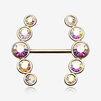 A Pair of Golden Sparkle Ray Multi-Gem Nipple Ring