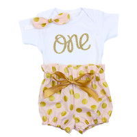 Pink & Gold 1st Birthday Bloomer Outfit
