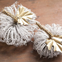White Pumpkins - 2 Grapevine Pumpkins with Gold Gilt Stems and Leaves, Rustic Fall Decor