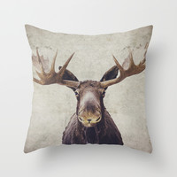 Moose Throw Pillow by Retro Love Photography