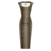 This slip on style sexy wiggle dress features very stretchy material with leopard print throughout, soft scoop neckline with pleated detailing, paneled front with flattering tummy gathering construction, short cap sleeves. Finished with fully lined. Pair w
