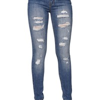 High Rise Skinniest Ripped Cerulean Tide Jeans - Womens Jeans - Blue -