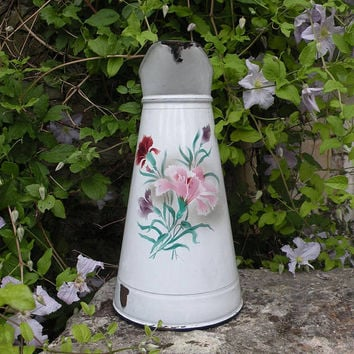French vintage enamel water pitcher, floral enamel pitcher, french country home, rustic home decor, kitchen decor, Frenchshabbychic