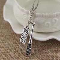 Hot Movie The Walking Dead Necklace Cudgel And Letter Logo Pendant Fashion Jewelry Necklace For Women And Men Can Drop shipping