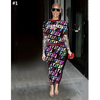Fendi tide brand female letter printing casual two-piece #1
