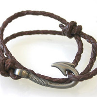 Fish Hook Bracelet  Braided Leather by vertini on Etsy