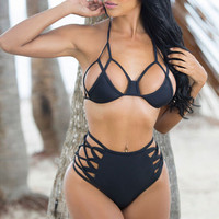 Hollow Out High Waist Halter Beach Bikini Set Swimsuit Swimwear