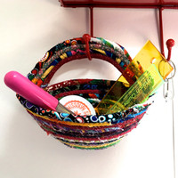 Coiled Rope Clothesline Basket  Back Door To Go Bowl  Door Knob Organizer  Hanging Door Organizer  Mulit Color Scrappy Quilting  Key Holder
