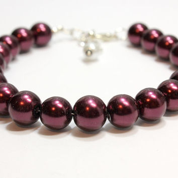 Extra Large Burgundy Pearl Dog and Cat Jewelry. Wine Colored Glass Pearl Beads Pet Jewelry. Home Made Pet Couture. Great for All Size Dogs