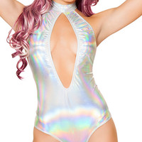 Foil Hologram High-Neck Halter Romper