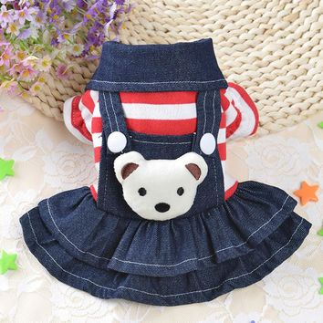 Jeans Pet Puppy Clothes Dog Coats for Small Dog Jacket Warm Hoodied Cat Pajamas Puppy Clothing Teddy Yorkies Pet Apparel 40