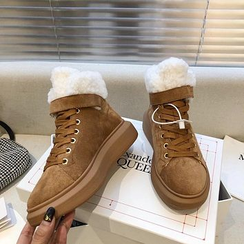 Alexander McQueen 2021 Trending Women's men Leather Side Zip Lace-up Ankle Boots Shoes High Boots10170gh