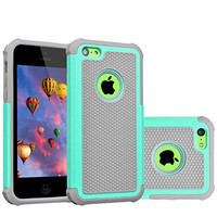iPhone 5C Case,GOOQ Solid Shockproof Silicone + Hard Case Cover Stylish Design Dual layer Protection Defender Anti-scratch Anti-slip Hard Slim Case Cover for iPhone 5C(Gray/Turquoise)