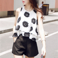 Daisy Layered Chiffon Tank And Shorts Set