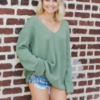 Green Wide Neck Knit Sweater