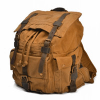 Large Canvas Leather Hiking Outdoor Travel Backpack $84.99